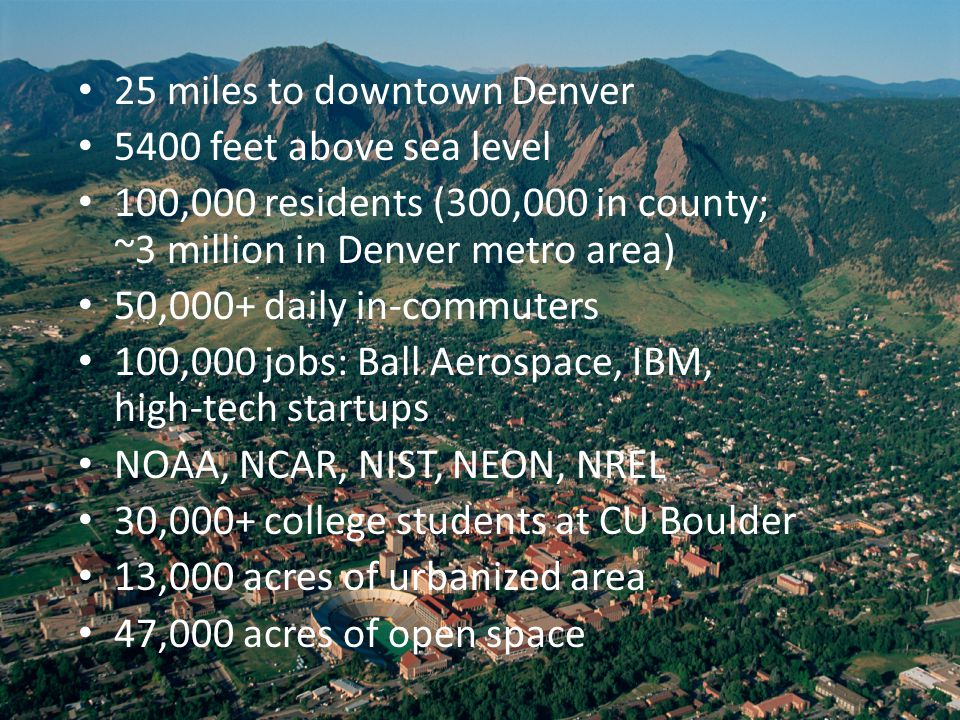 25 miles to downtown Denver 5400 feet above sea level 100,000 residents (300,000 in county; ~3 million in Denver metro area) 50,000+ daily in-commuters 100,000 jobs: Ball Aerospace, IBM, high-tech startups NOAA, NCAR, NIST, NEON, NREL 30,000+ college students at CU Boulder 13,000 acres of urbanized area 47,000 acres of open space