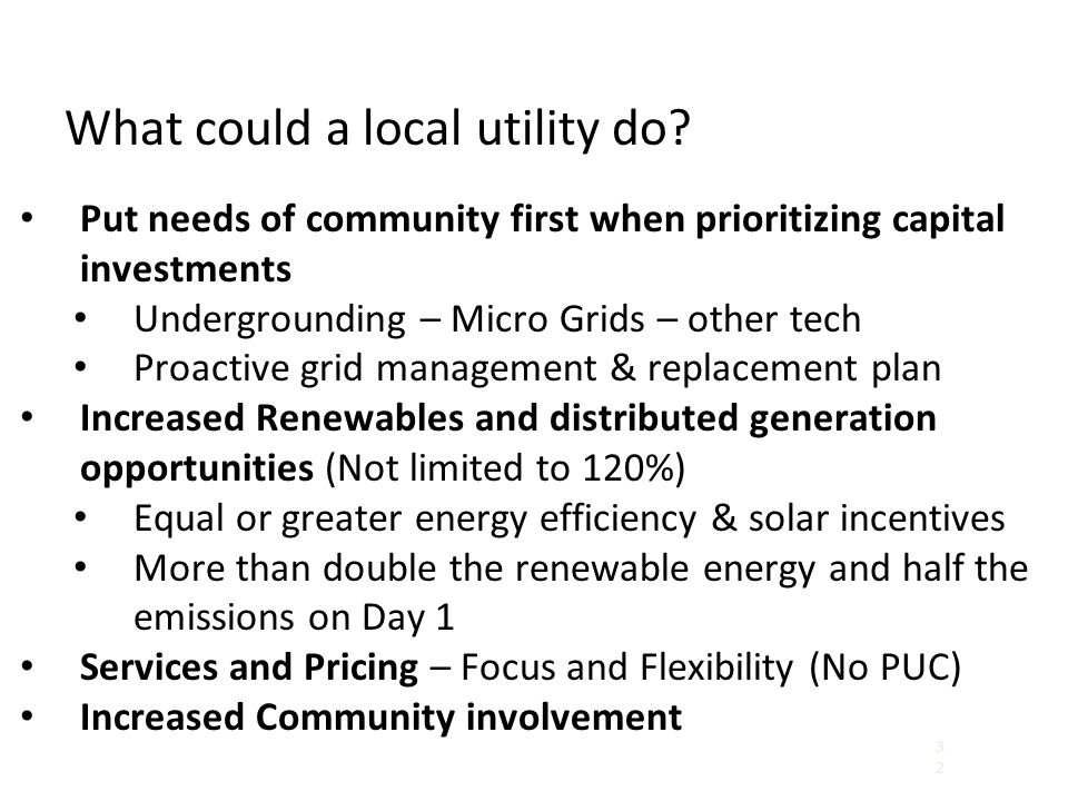 What could a local utility do.
