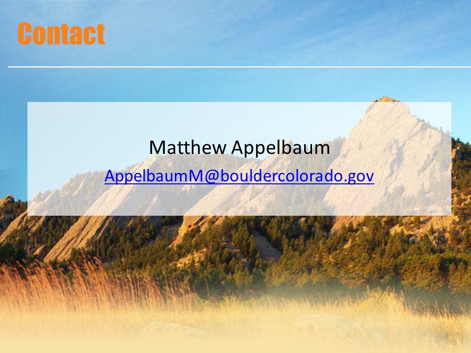 Matthew Appelbaum AppelbaumM@bouldercolorado.gov Contact