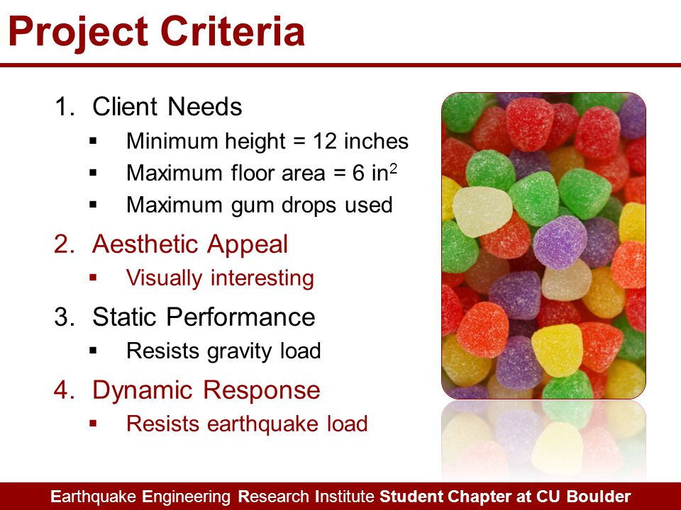Earthquake Engineering Research Institute Student Chapter at CU Boulder Project Criteria 1.Client Needs  Minimum height = 12 inches  Maximum floor area = 6 in 2  Maximum gum drops used 2.Aesthetic Appeal  Visually interesting 3.Static Performance  Resists gravity load 4.Dynamic Response  Resists earthquake load