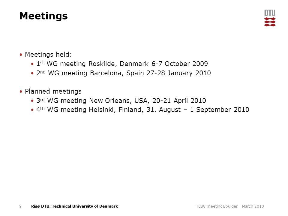 Risø DTU, Technical University of Denmark Meetings Meetings held: 1 st WG meeting Roskilde, Denmark 6-7 October 2009 2 nd WG meeting Barcelona, Spain