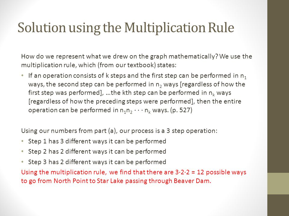Solution using the Multiplication Rule How do we represent what we drew on the graph mathematically? We use the multiplication rule, which (from our t