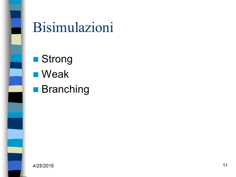 4/25/2015 11 Bisimulazioni Strong Weak Branching