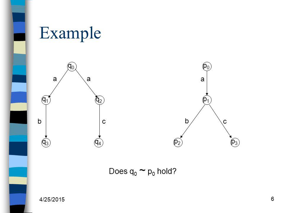4/25/2015 6 Example q1q1 q0q0 q2q2 p0p0 p1p1 p2p2 c aa a c b b Does q 0 ~ p 0 hold? q3q3 q4q4 p3p3