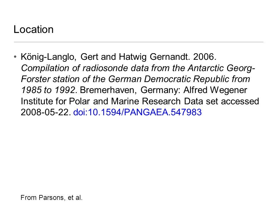 Location König-Langlo, Gert and Hatwig Gernandt. 2006. Compilation of radiosonde data from the Antarctic Georg- Forster station of the German Democrat