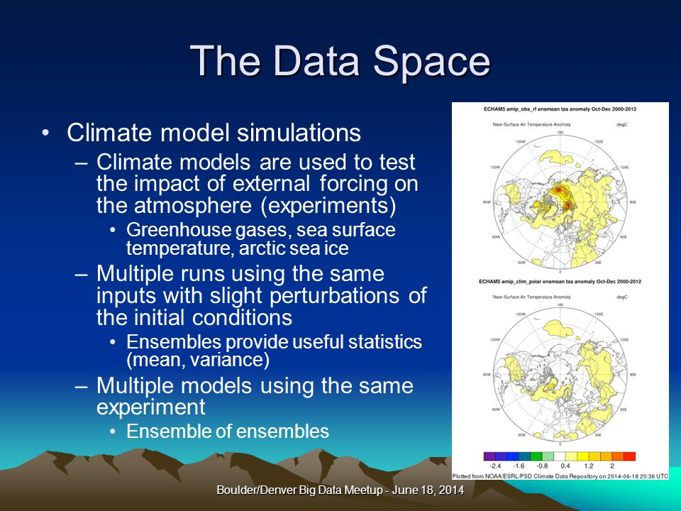 The Data Space Climate model simulations –Climate models are used to test the impact of external forcing on the atmosphere (experiments) Greenhouse gases, sea surface temperature, arctic sea ice –Multiple runs using the same inputs with slight perturbations of the initial conditions Ensembles provide useful statistics (mean, variance) –Multiple models using the same experiment Ensemble of ensembles Boulder/Denver Big Data Meetup - June 18, 2014