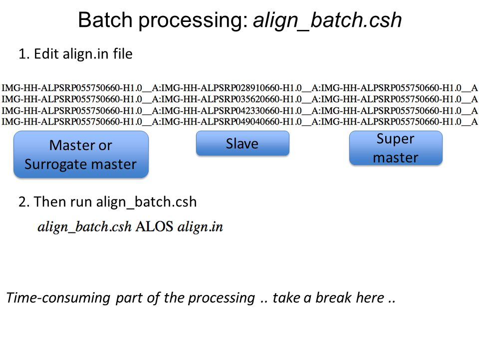 Batch processing: align_batch.csh Time-consuming part of the processing.. take a break here.. 1. Edit align.in file Master or Surrogate master Slave S