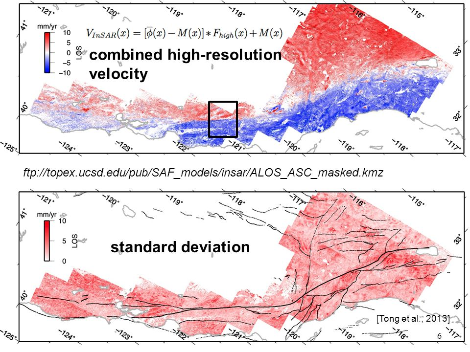 standard deviation 6 combined high-resolution velocity [Tong et al., 2013] ftp://topex.ucsd.edu/pub/SAF_models/insar/ALOS_ASC_masked.kmz