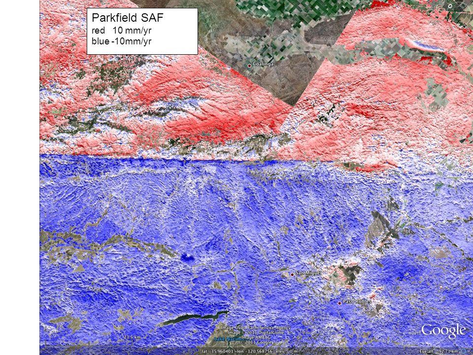 Parkfield SAF red 10 mm/yr blue -10mm/yr