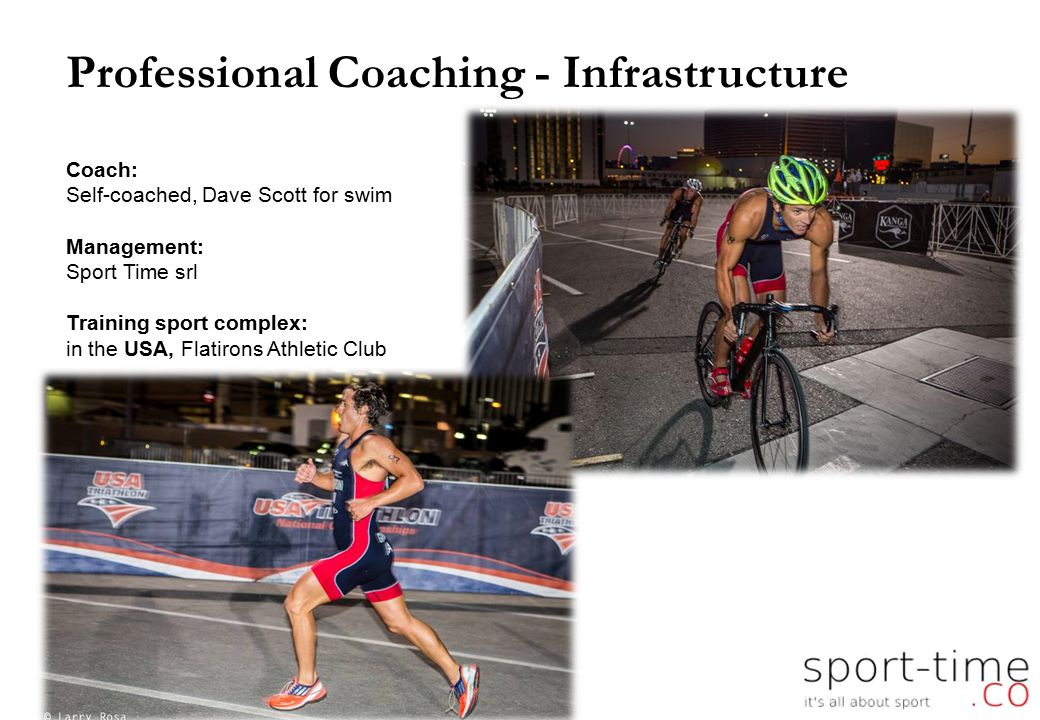 Professional Coaching - Infrastructure Coach: Self-coached, Dave Scott for swim Management: Sport Time srl Training sport complex: in the USA, Flatirons Athletic Club 6