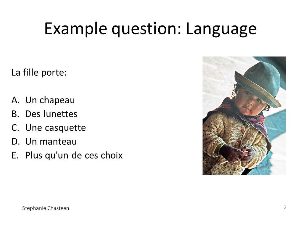 6 Example question: Language La fille porte: A.Un chapeau B.Des lunettes C.Une casquette D.Un manteau E.Plus qu'un de ces choix Stephanie Chasteen