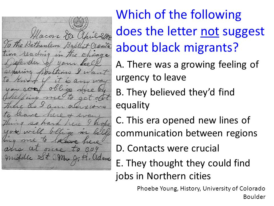 Which of the following does the letter not suggest about black migrants.