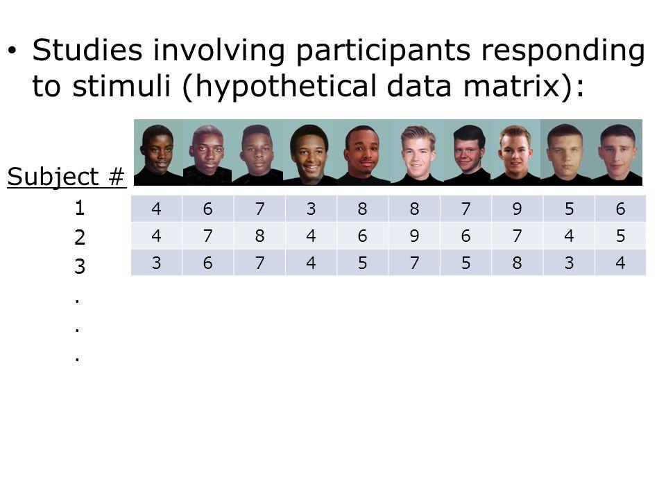 Studies involving participants responding to stimuli (hypothetical data matrix): Subject # 1 2 3.