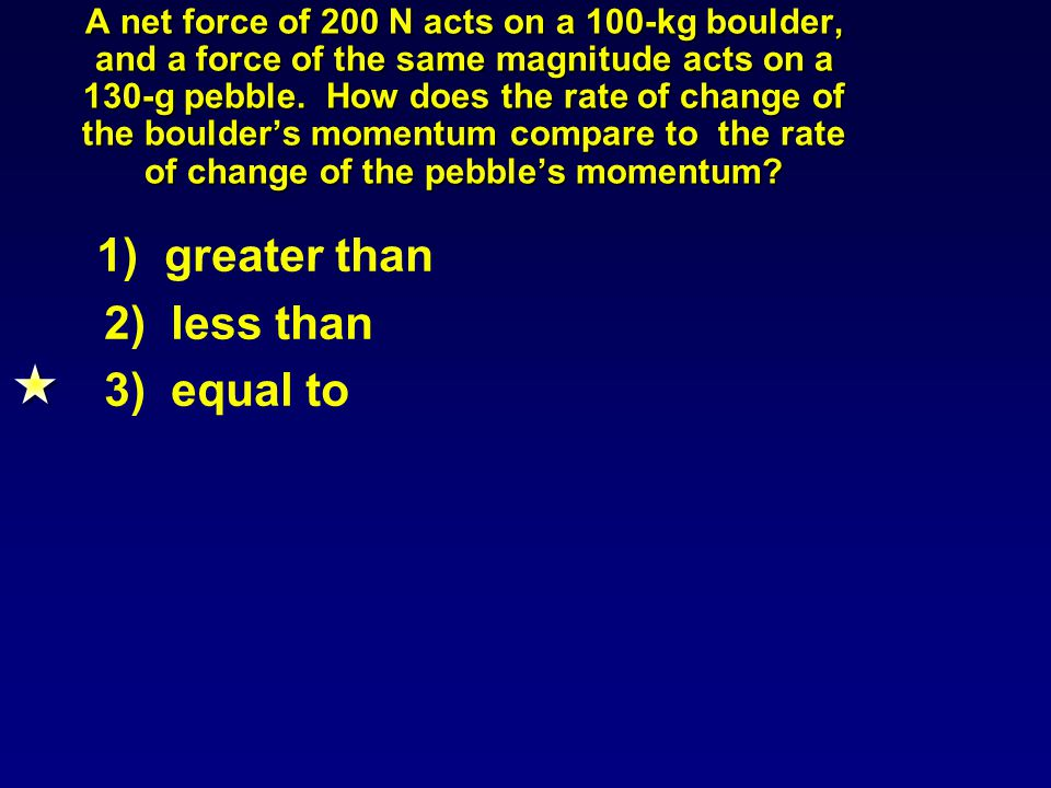 A net force of 200 N acts on a 100-kg boulder, and a force of the same magnitude acts on a 130-g pebble.