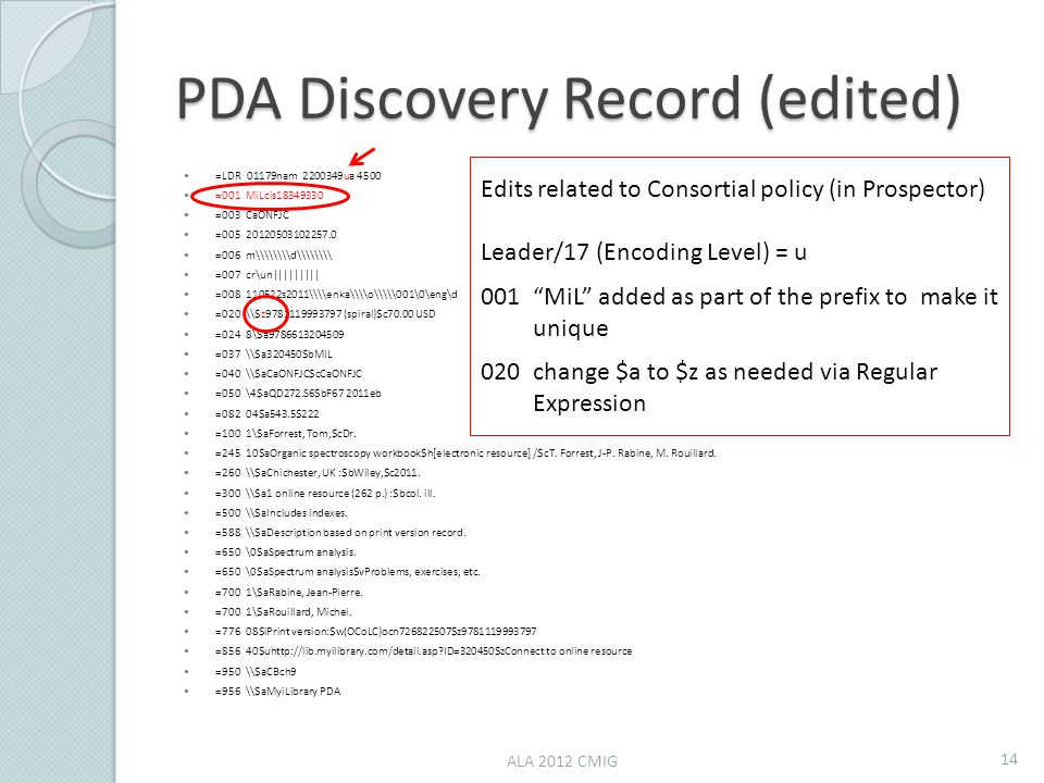 PDA Discovery Record (edited) =LDR 01179nam 2200349ua 4500 =001 MiLcis18349330 =003 CaONFJC =005 20120503102257.0 =006 m\\\\d\\\\ =007 cr\un||||||||| =008 110522s2011\\enka\\o\\\001\0\eng\d =020 \$z9781119993797 (spiral)$c70.00 USD =024 8\$a9786613204509 =037 \$a320450$bMIL =040 \$aCaONFJC$cCaONFJC =050 \4$aQD272.S6$bF67 2011eb =082 04$a543.5$222 =100 1\$aForrest, Tom,$cDr.