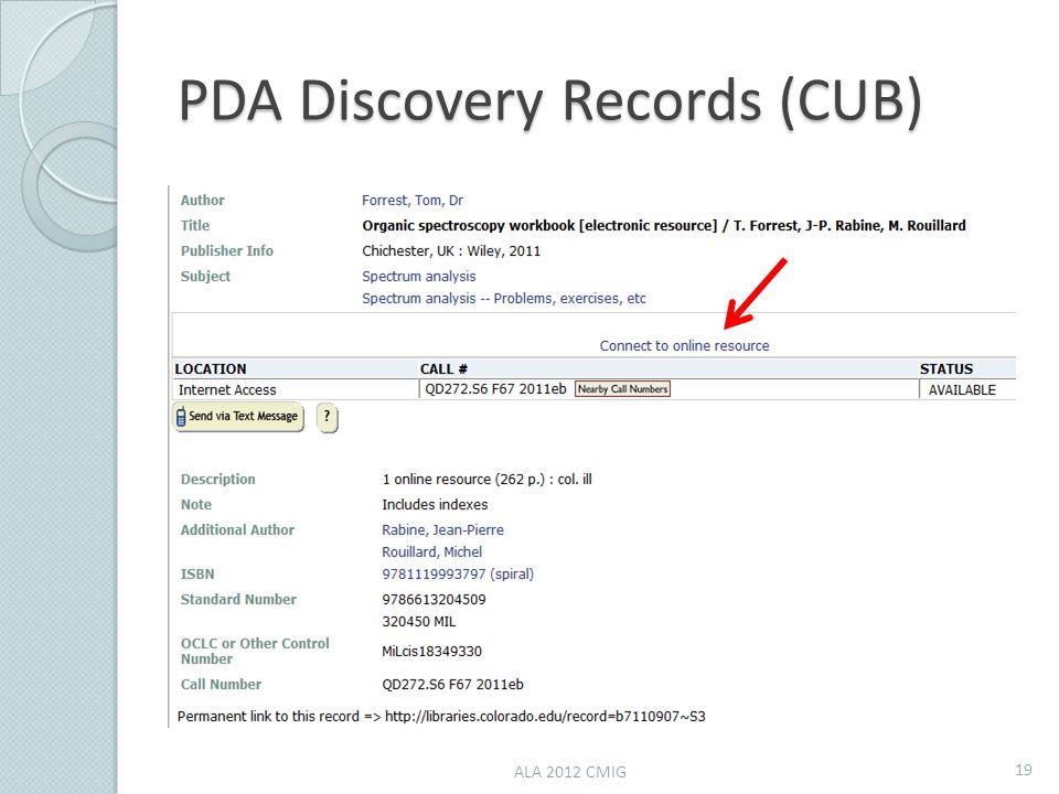 PDA Discovery Records (CUB) ALA 2012 CMIG 19