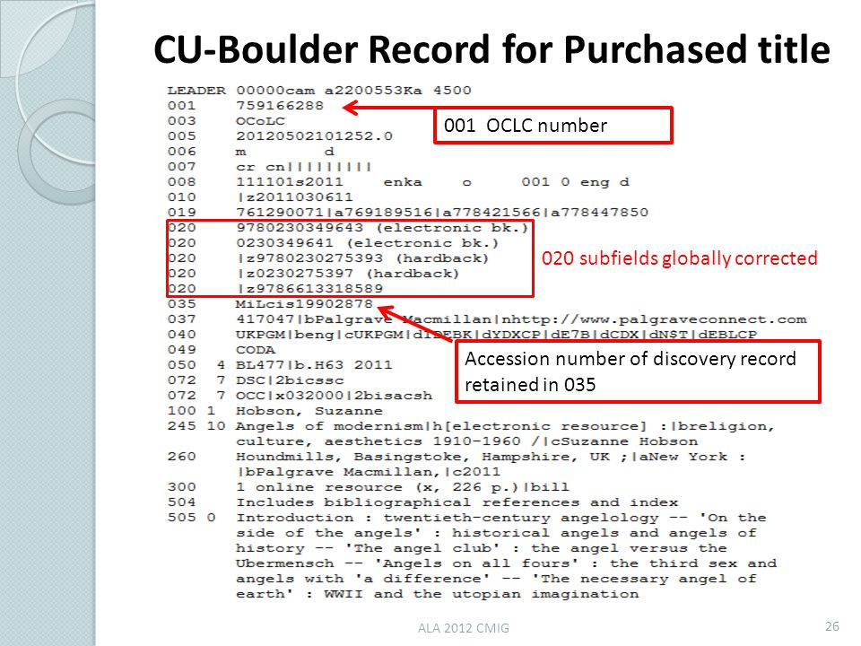 ALA 2012 CMIG 26 020 subfields globally corrected Accession number of discovery record retained in 035 001 OCLC number CU-Boulder Record for Purchased