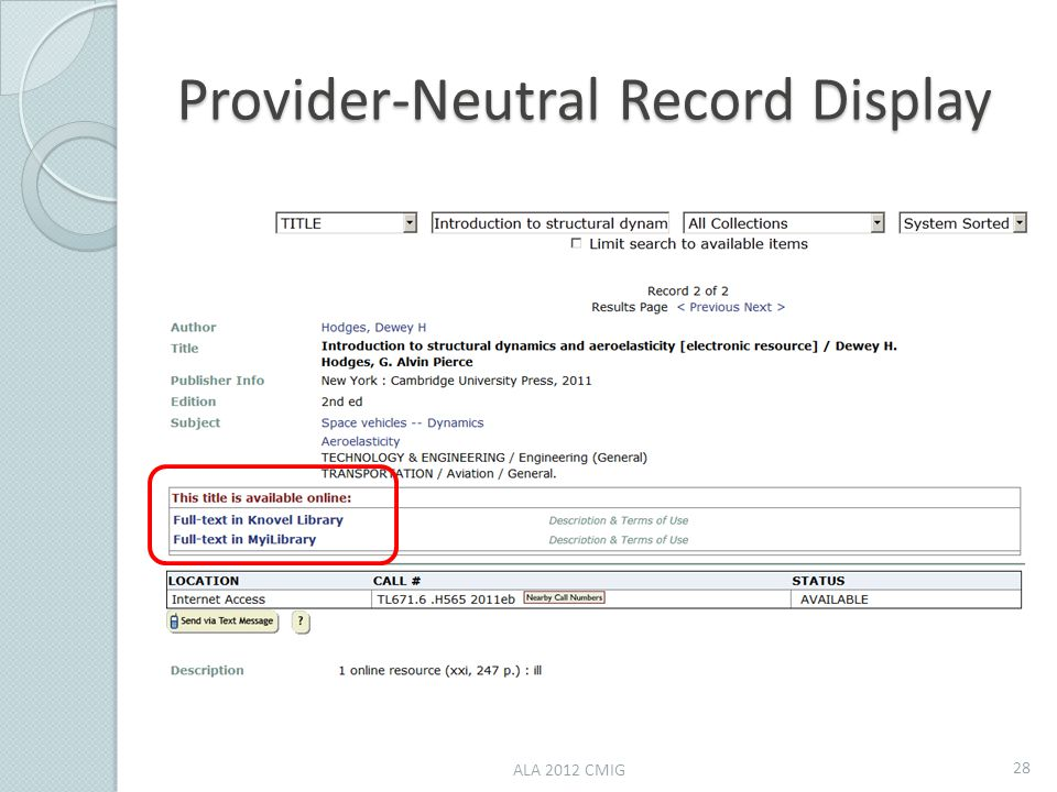 Provider-Neutral Record Display ALA 2012 CMIG 28