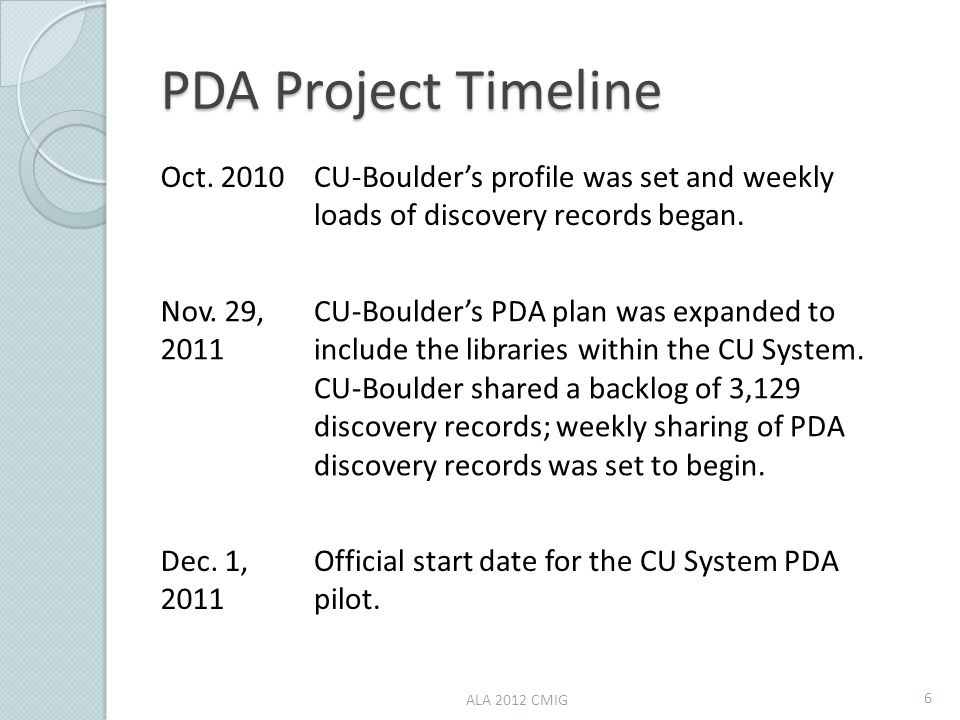 PDA Project Timeline Oct. 2010CU-Boulder's profile was set and weekly loads of discovery records began. Nov. 29, 2011 CU-Boulder's PDA plan was expand