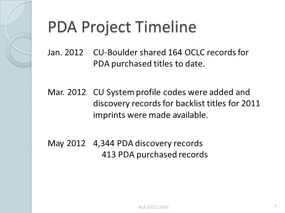 PDA Project Timeline Jan. 2012CU-Boulder shared 164 OCLC records for PDA purchased titles to date. Mar. 2012CU System profile codes were added and dis