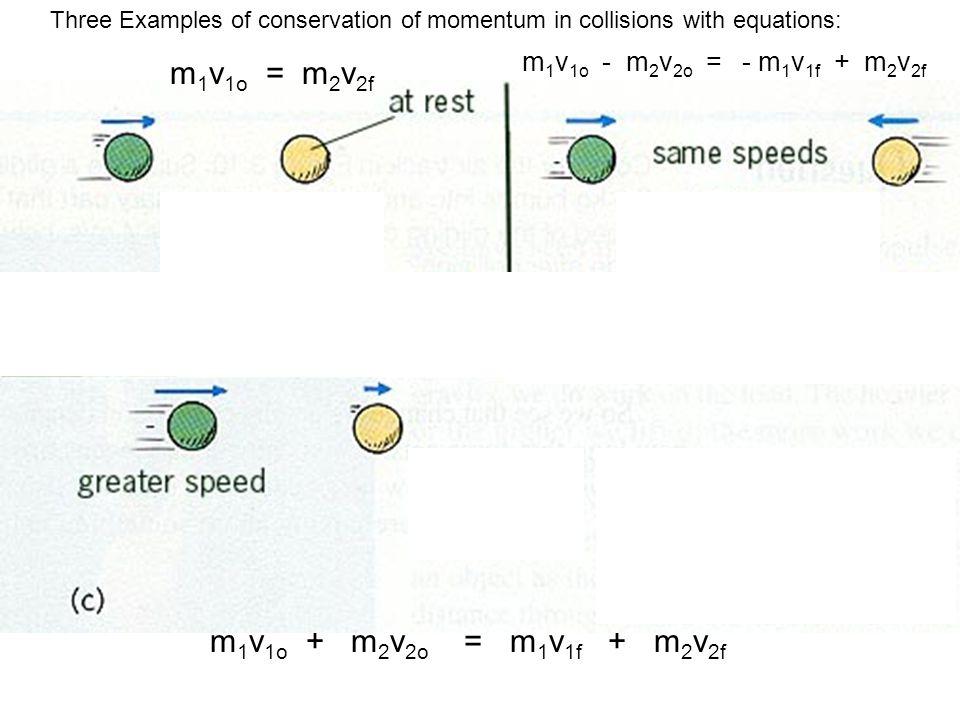 m 1 v 1o = m 2 v 2f m 1 v 1o - m 2 v 2o = - m 1 v 1f + m 2 v 2f m 1 v 1o + m 2 v 2o = m 1 v 1f + m 2 v 2f Three Examples of conservation of momentum i