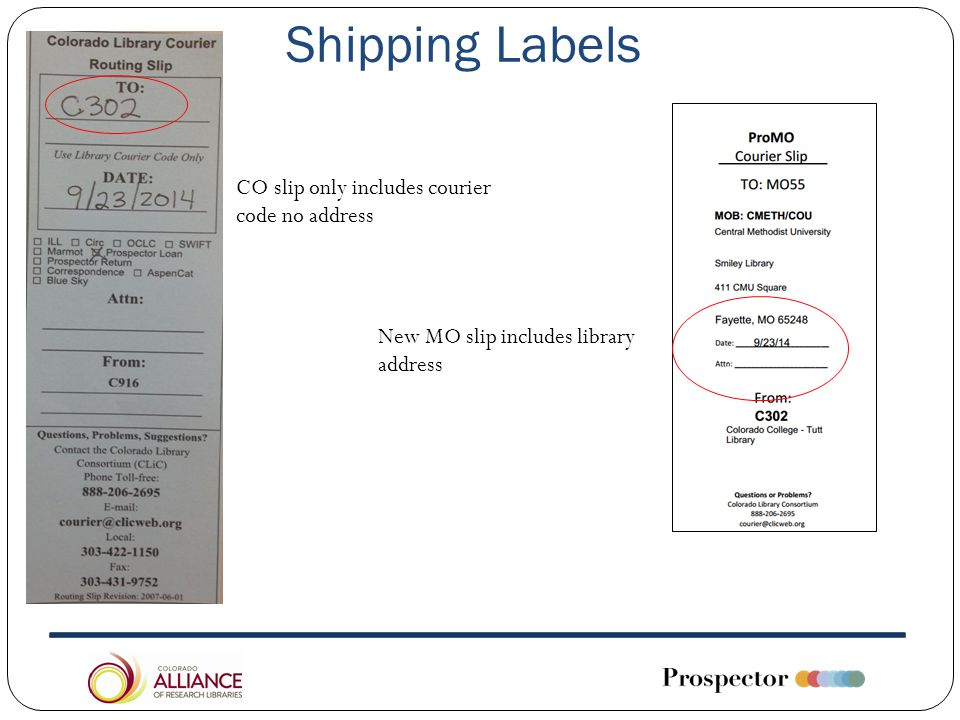 Shipping Labels CO slip only includes courier code no address New MO slip includes library address