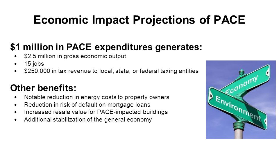 Economic Impact Projections of PACE $1 million in PACE expenditures generates: $2.5 million in gross economic output 15 jobs $250,000 in tax revenue t