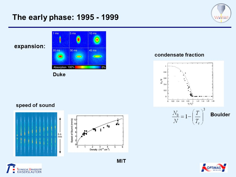 The early phase: 1995 - 1999 expansion: MIT Boulder Duke condensate fraction speed of sound