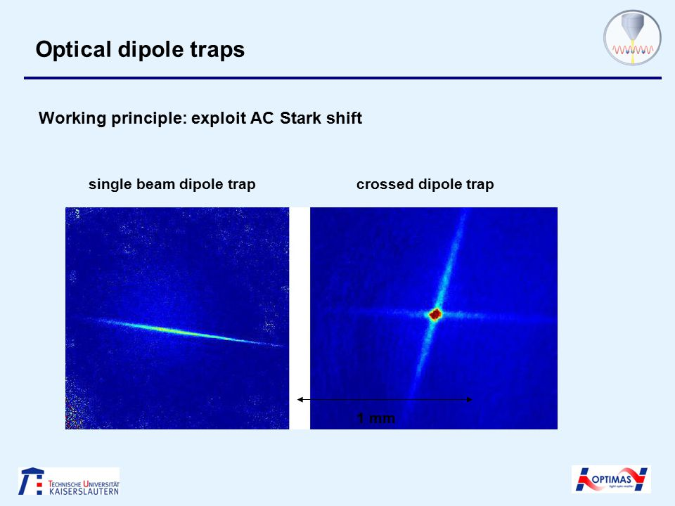 Optical dipole traps Working principle: exploit AC Stark shift single beam dipole trapcrossed dipole trap 1 mm