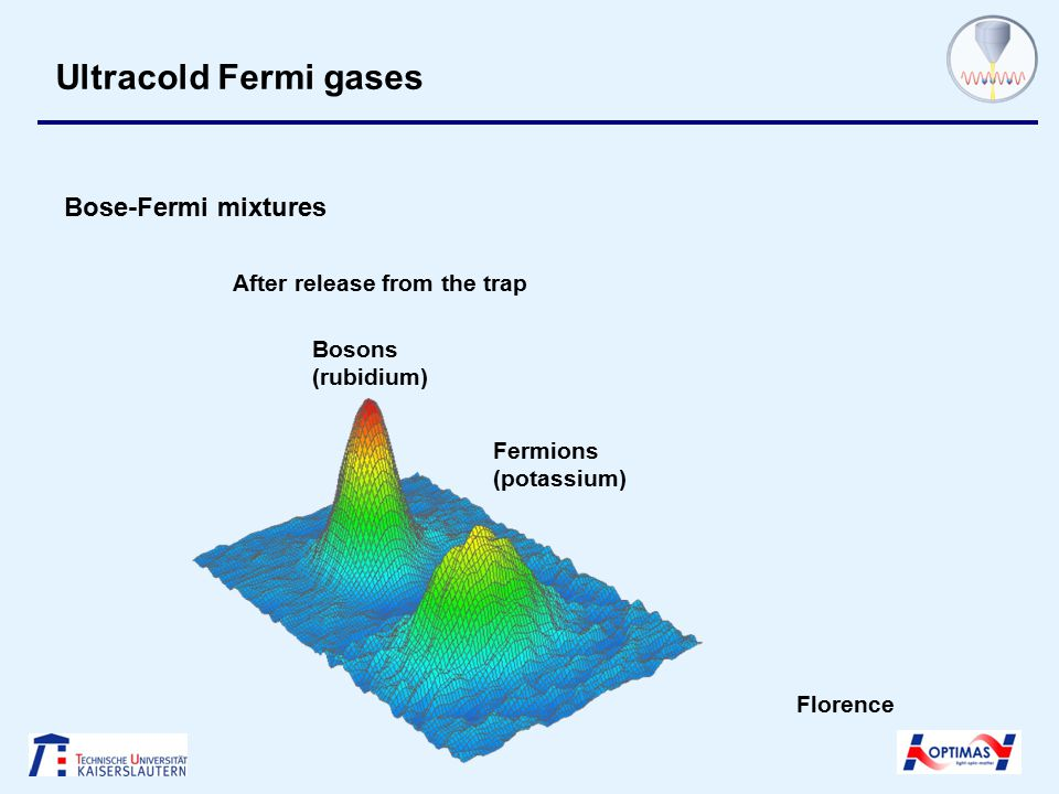 Ultracold Fermi gases Bose-Fermi mixtures Bosons (rubidium) Fermions (potassium) After release from the trap Florence