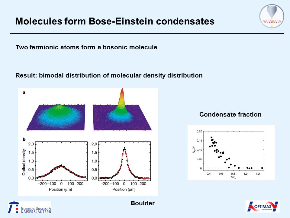 Molecules form Bose-Einstein condensates Result: bimodal distribution of molecular density distribution Condensate fraction Boulder Two fermionic atoms form a bosonic molecule