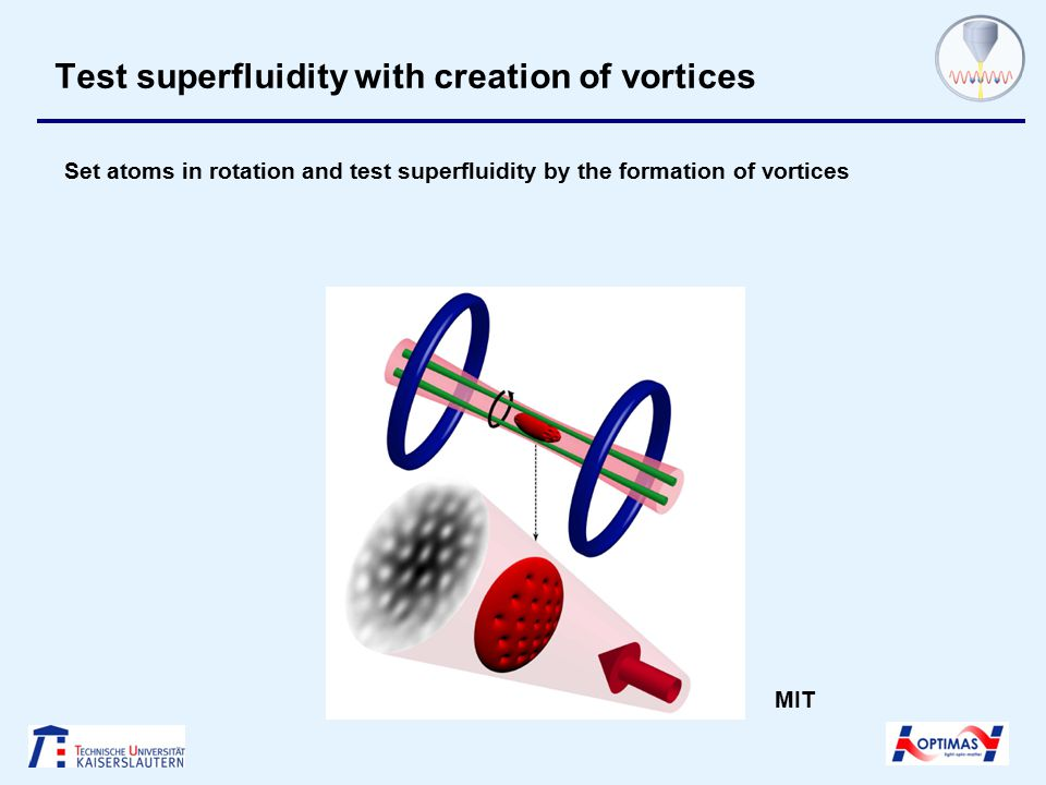Test superfluidity with creation of vortices Set atoms in rotation and test superfluidity by the formation of vortices MIT