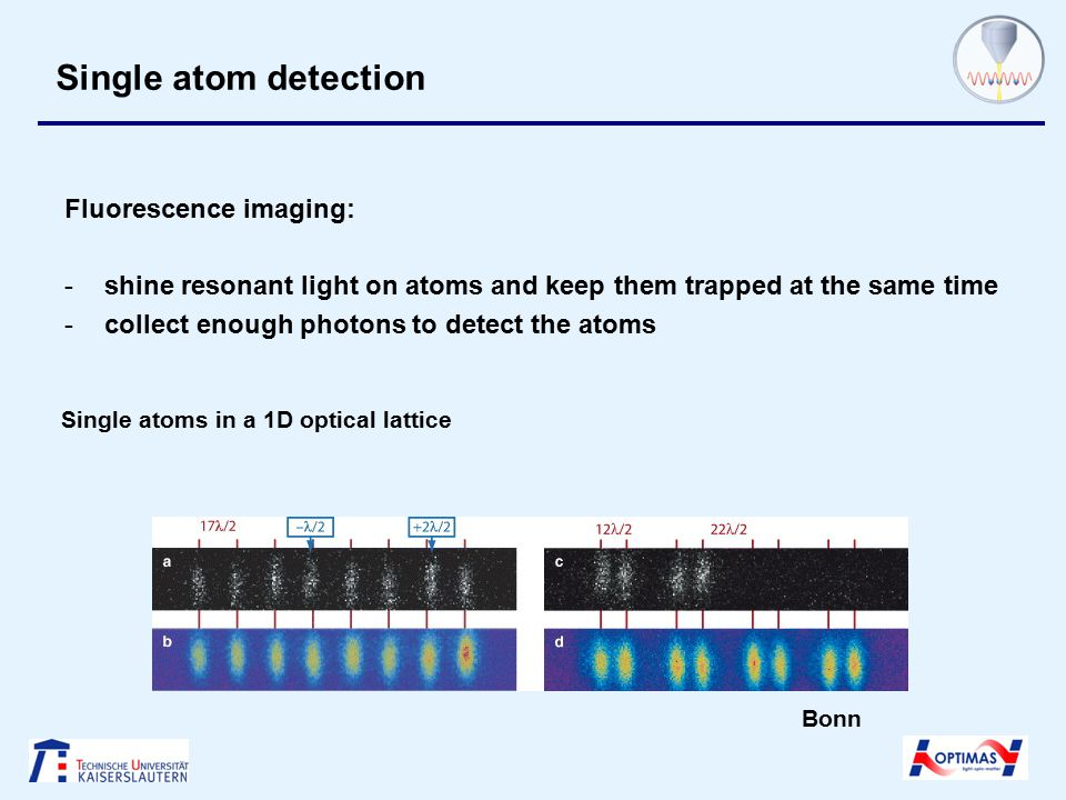 Single atom detection Fluorescence imaging: -shine resonant light on atoms and keep them trapped at the same time -collect enough photons to detect the atoms Single atoms in a 1D optical lattice Bonn