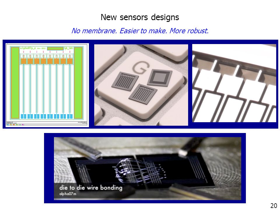 20 New sensors designs No membrane. Easier to make. More robust.