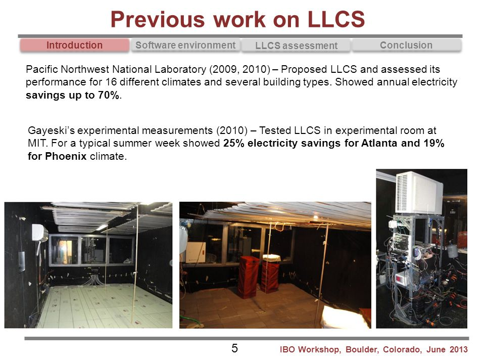 Introduction Software environment LLCS assessment Conclusion Gayeski's experimental measurements (2010) – Tested LLCS in experimental room at MIT. For