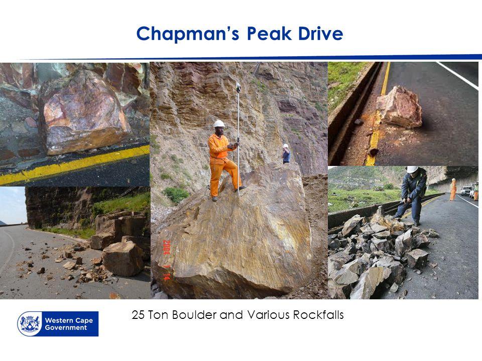 Chapman's Peak Drive 25 Ton Boulder and Various Rockfalls