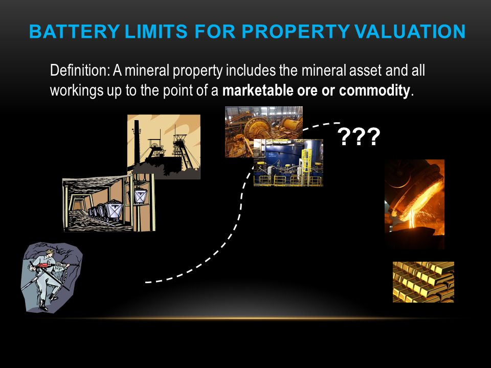 BATTERY LIMITS FOR PROPERTY VALUATION Definition: A mineral property includes the mineral asset and all workings up to the point of a marketable ore o
