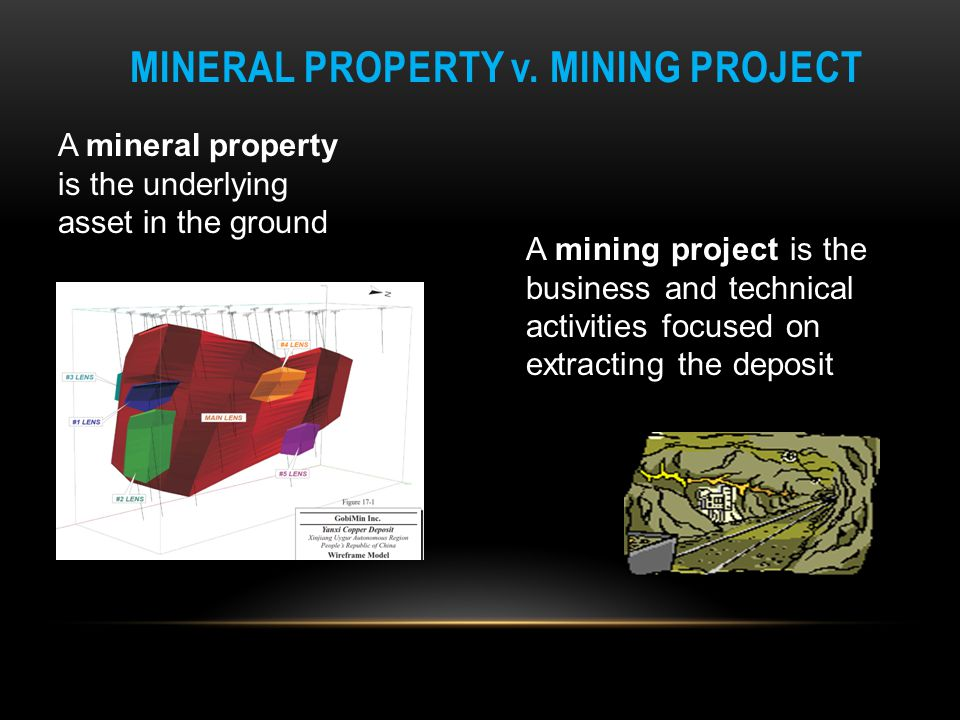 MINERAL PROPERTY v. MINING PROJECT A mining project is the business and technical activities focused on extracting the deposit A mineral property is t