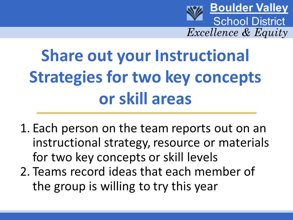 Share out your Instructional Strategies for two key concepts or skill areas 1.Each person on the team reports out on an instructional strategy, resource or materials for two key concepts or skill levels 2.Teams record ideas that each member of the group is willing to try this year Boulder Valley School District Excellence & Equity