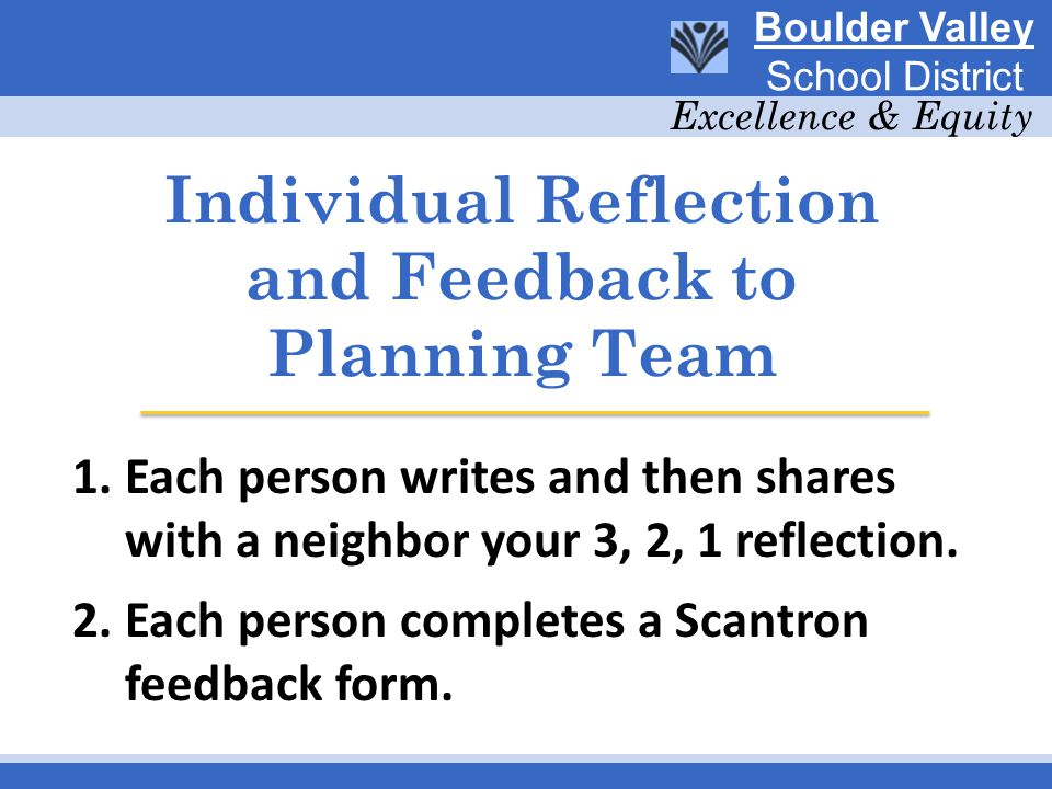 Individual Reflection and Feedback to Planning Team 1.Each person writes and then shares with a neighbor your 3, 2, 1 reflection.