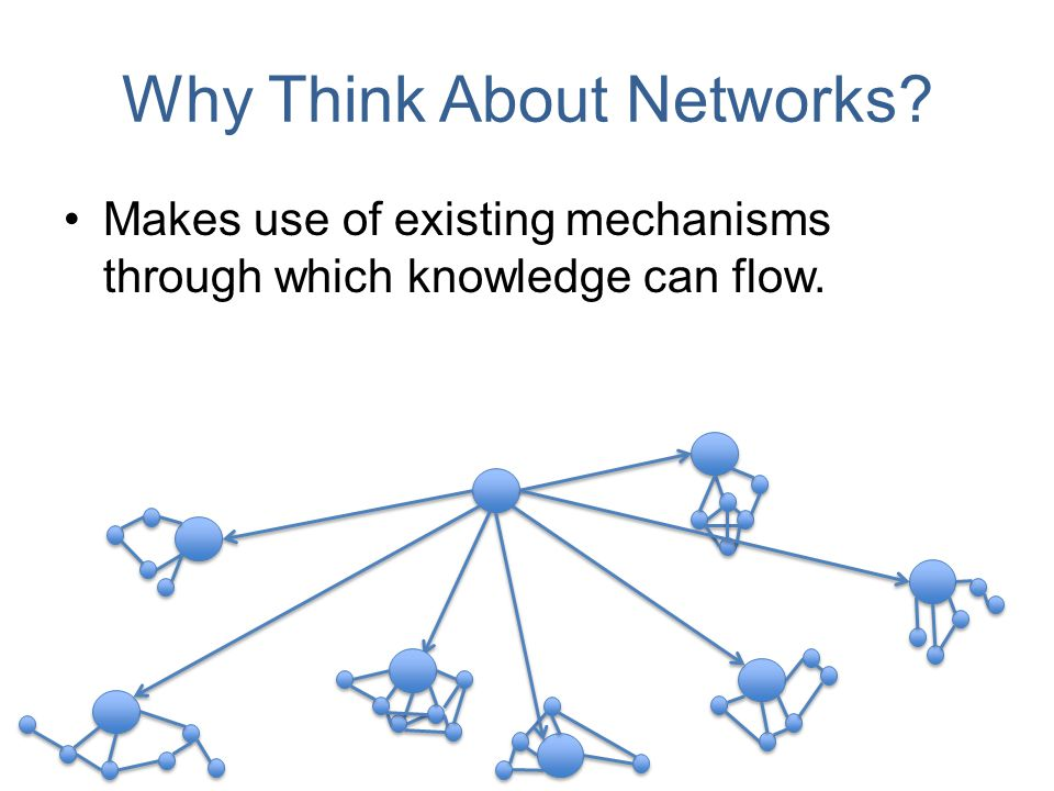 Why Think About Networks Makes use of existing mechanisms through which knowledge can flow.