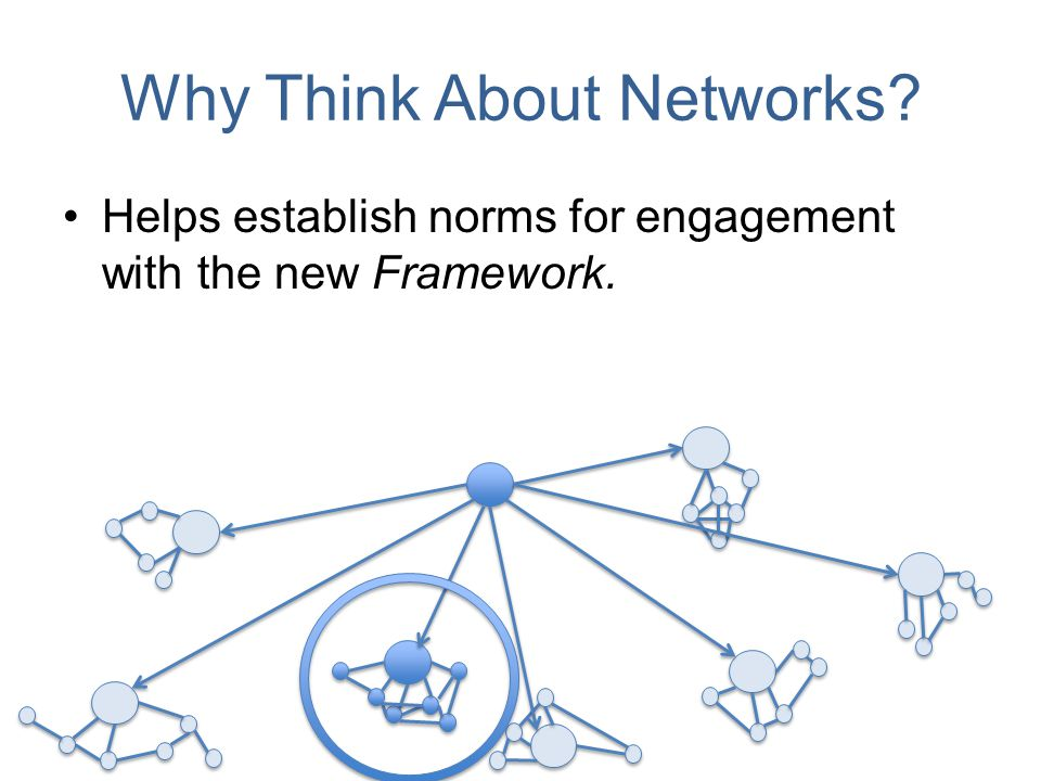 Why Think About Networks? Helps establish norms for engagement with the new Framework.