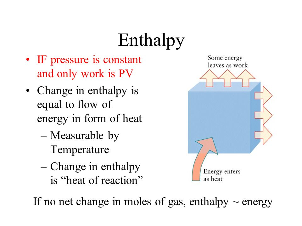 Enthalpy Most reactions are done in open containers, so P is constant Need a term for constant pressure where only work is PV At constant pressure, q