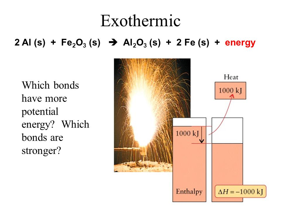 Enthalpy Signs on ΔH –+ heat is taken in by system –- heat is given off by system Endothermic ΔH = + Exothermic ΔH = -