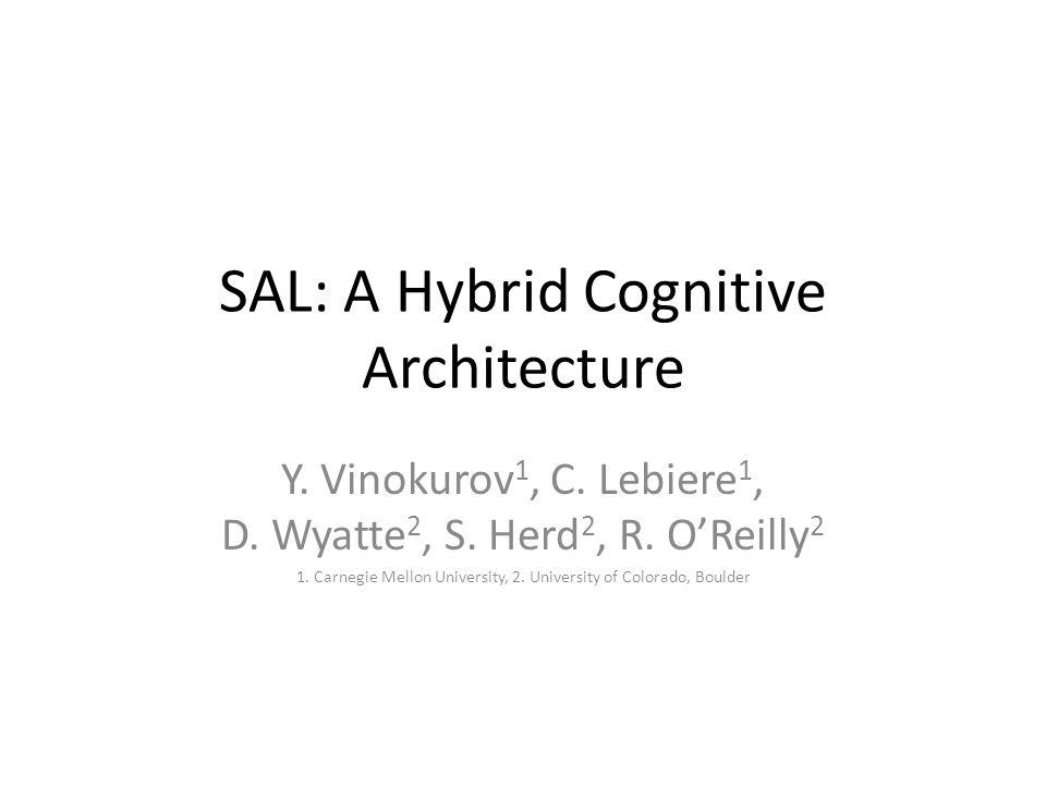 SAL: A Hybrid Cognitive Architecture Y. Vinokurov 1, C.
