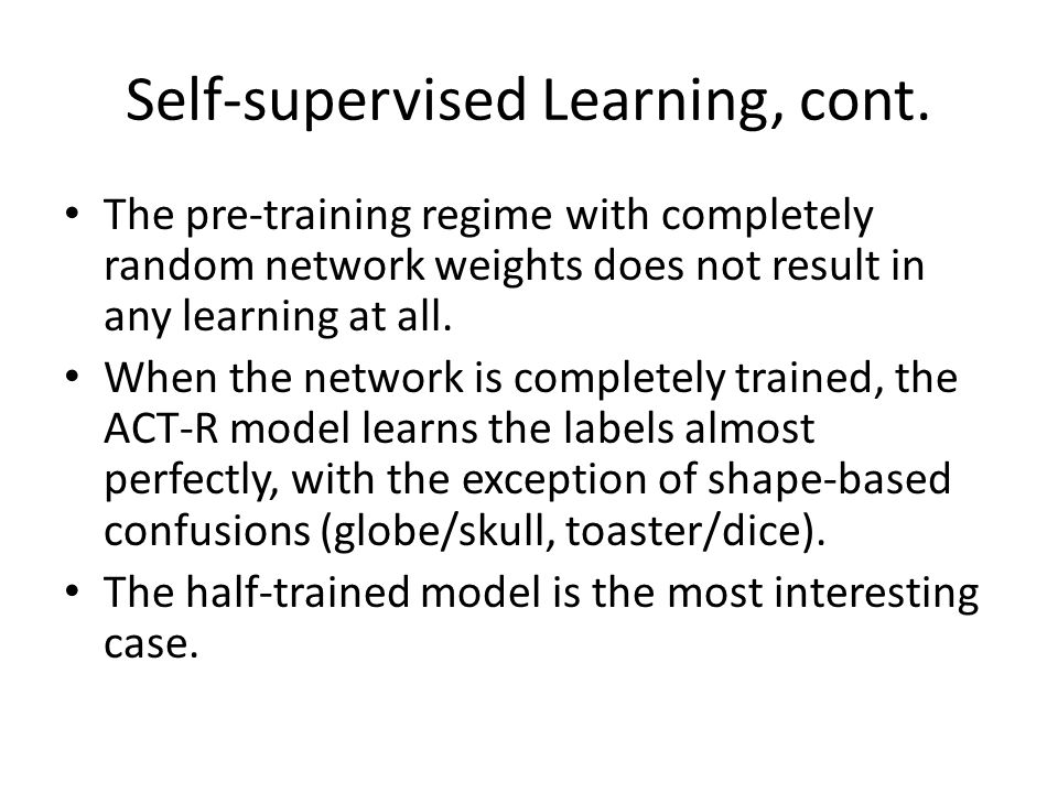 Self-supervised Learning, cont.