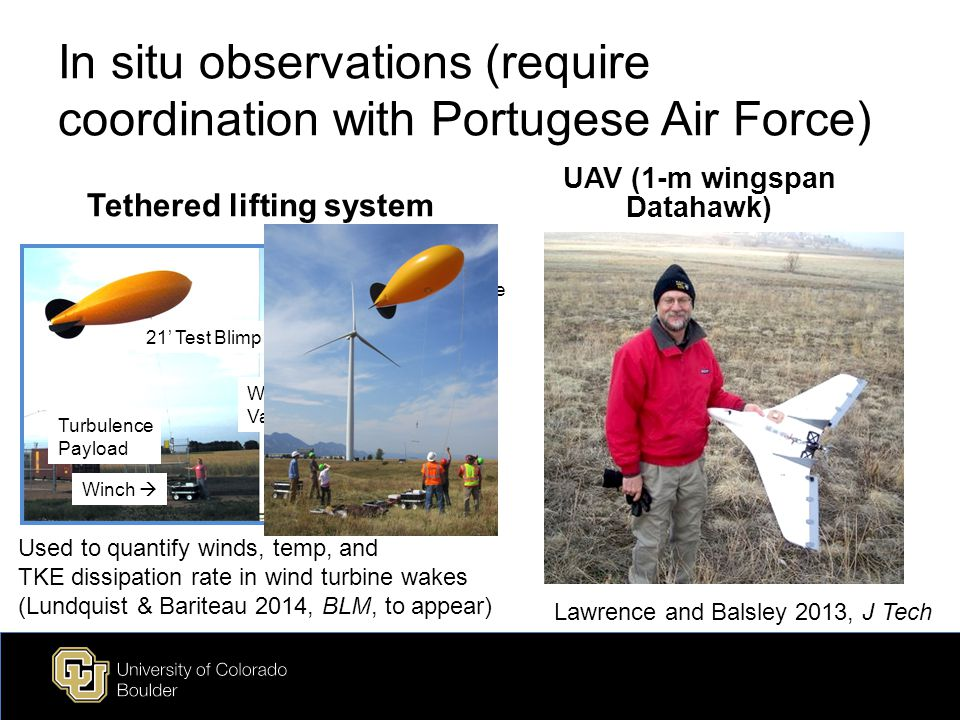 In situ observations (require coordination with Portugese Air Force) Tethered lifting system UAV (1-m wingspan Datahawk) 21' Test Blimp Turbulence Payload Winch  Wind  Vane Turbulence Payload Used to quantify winds, temp, and TKE dissipation rate in wind turbine wakes (Lundquist & Bariteau 2014, BLM, to appear) Lawrence and Balsley 2013, J Tech
