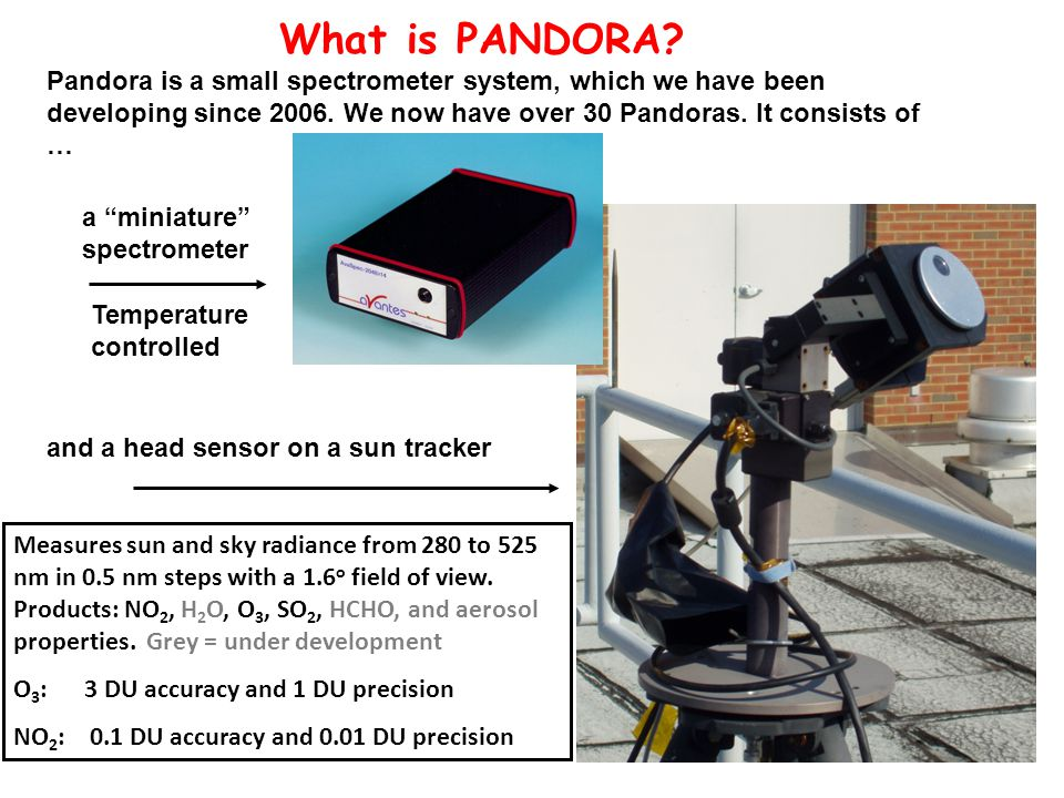 and a head sensor on a sun tracker What is PANDORA.