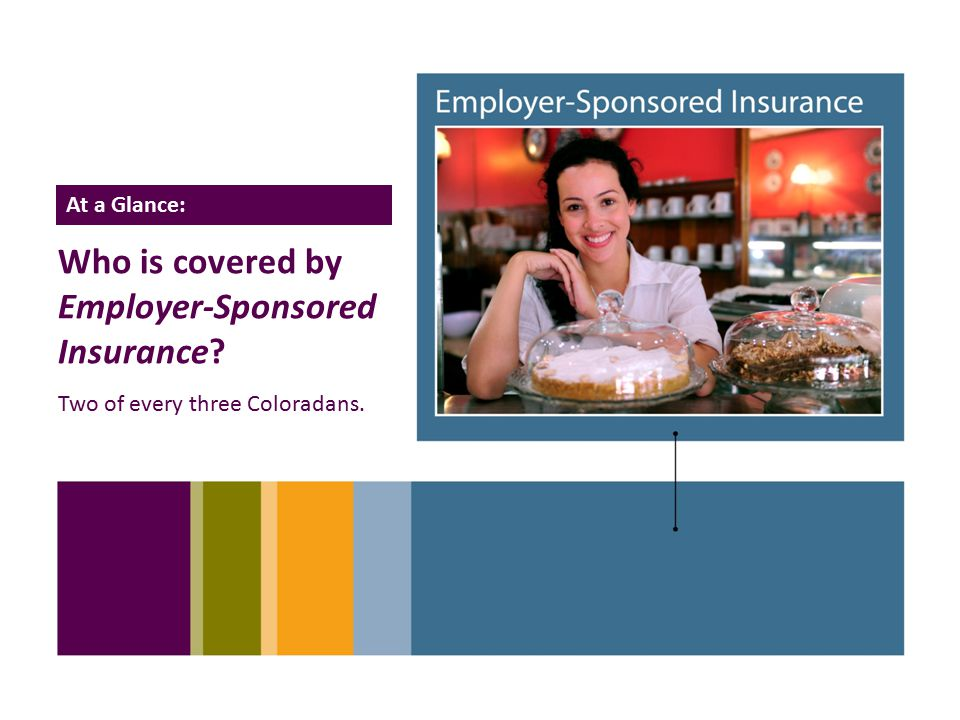 14 Who is covered by Employer-Sponsored Insurance Two of every three Coloradans. At a Glance: