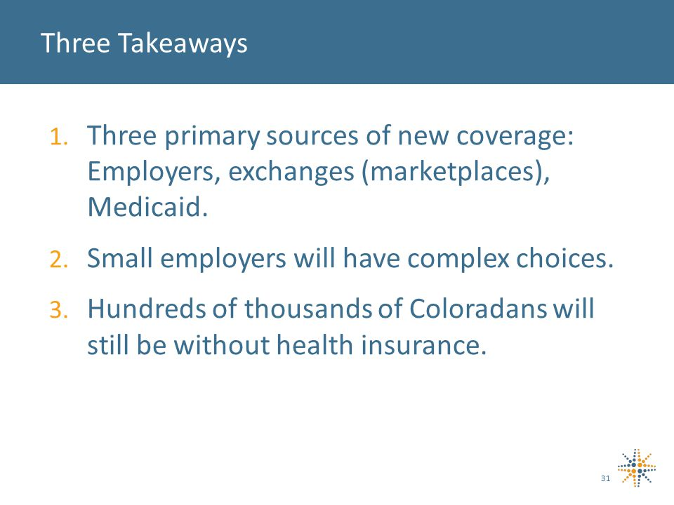 1. Three primary sources of new coverage: Employers, exchanges (marketplaces), Medicaid.